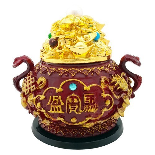 Overloaded Wealth Pot with 8 Auspicious Objects