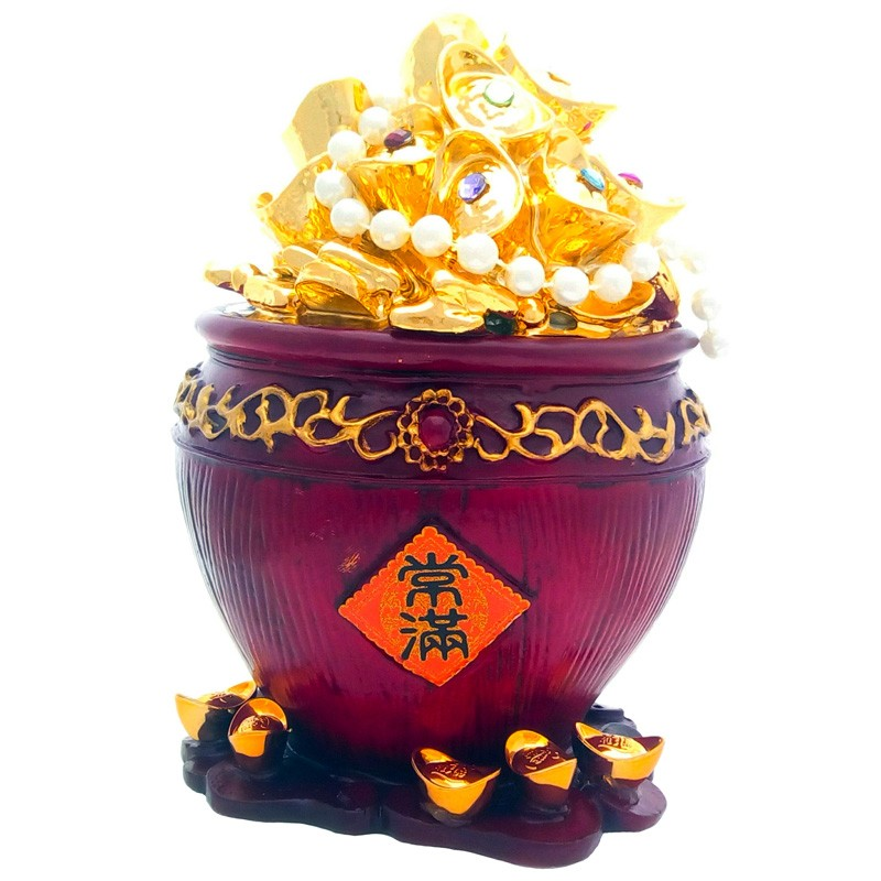 Good Fortune Wealth Pot with Gold Ingots and Gold Coins