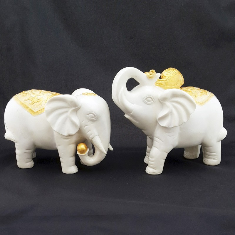 Feng Shui Sculpture White Elephants for Success Luck and Protection