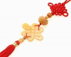Yellow Jade Mystic Knot with Lotus Tassel - LARGE