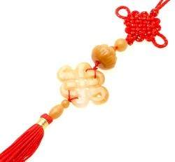 Yellow Jade Mystic Knot with Lotus Tassel