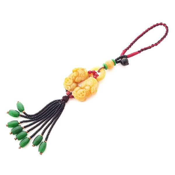 Natural Yellow Jade Double Pi Yao Tassel for Good Fortune and Protection